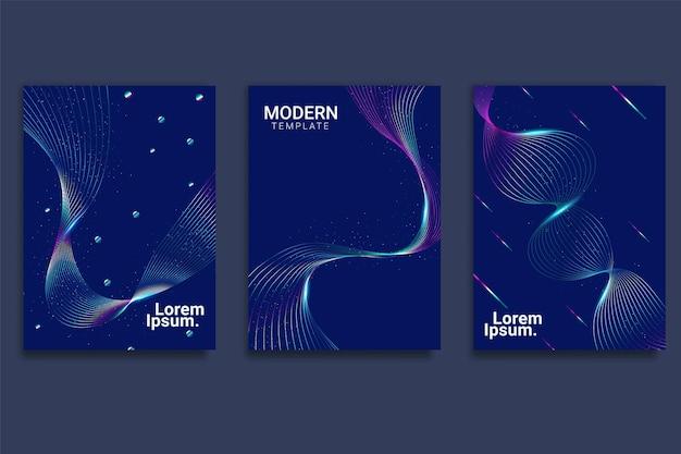 Diseño de cubierta mínima con ondas lineales de degradado abstracto