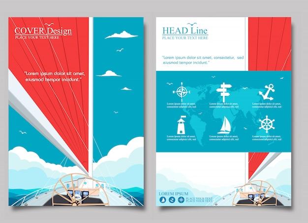 Diseño de cubierta con velero y vela roja.