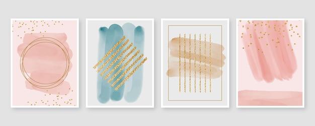 Diseño de cubiertas de formas abstractas de acuarela