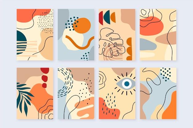 Diseño de cubiertas de formas abstractas dibujadas a mano