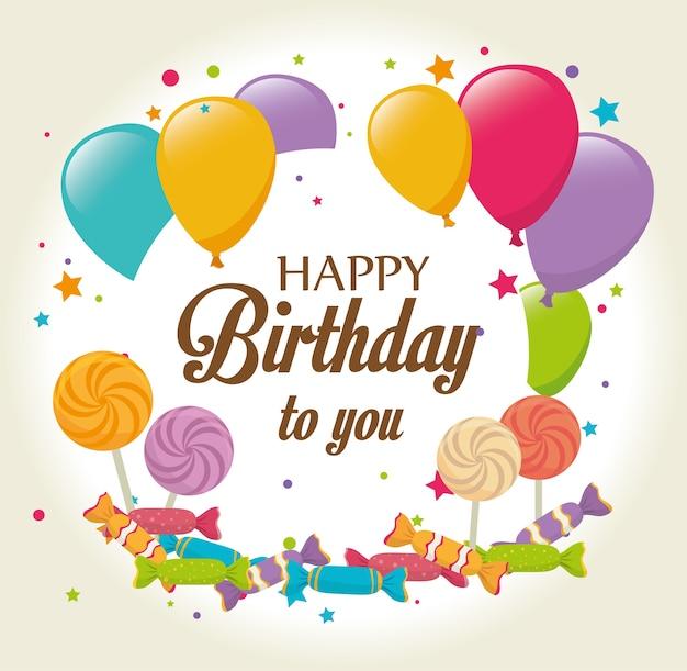 Diseño de cumpleaños, ilustración vectorial