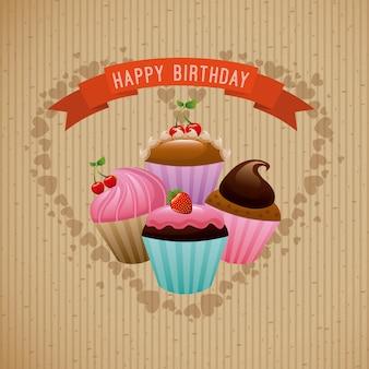Diseño de cumpleaños sobre fondo beige ilustración vectorial