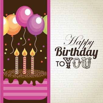 Diseño de cumpleaños sobre patrón de ilustración vectorial de fondo