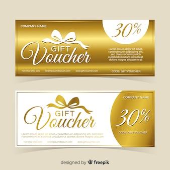 Diseño de cupón de regalo dorado