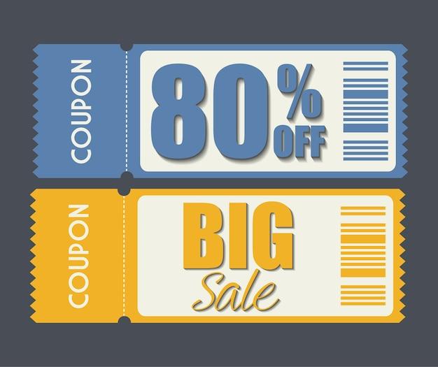 Diseño de cupones icono de venta. concepto de compras