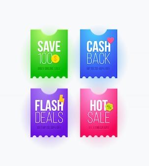 Diseño de cupones de venta de súper ofertas para su sitio web, pegatina, etiqueta de promoción