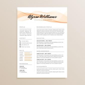 Diseño de currículum vitae simple elegante
