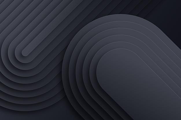Diseño curvilíneo de estilo de papel 3d en capas