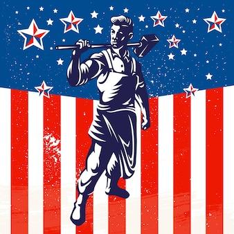 Diseño de afiche patriótico del trabajador estadounidense