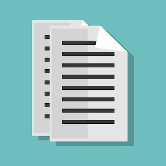 Diseño de archivo de documento de papel aislado ilustración de vector de icono