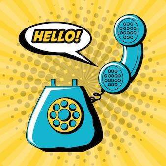 Diseño de arte pop con teléfono retro y icono de la burbuja del discurso