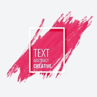 Diseño de banner de marco de grunge de trazo de pincel acuarela rosa