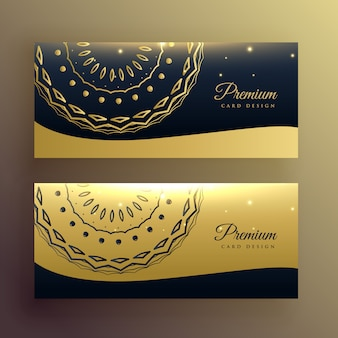 Diseño de banner de oro de mandala de lujo