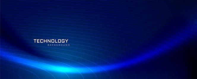 Diseño de banner de tecnología de onda azul