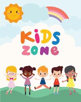 Diseño de banner de zona para niños.