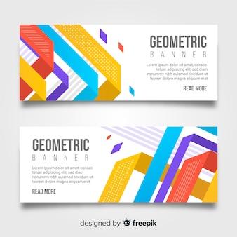 Diseño de banners con formas abstractas geométricas
