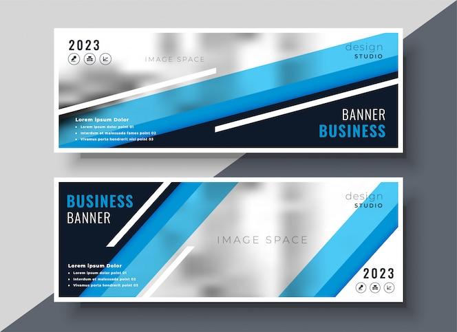 Diseño de banners de negocios azul geométrico abstracto