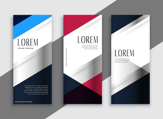 Diseño de banners verticales de negocios geométricos