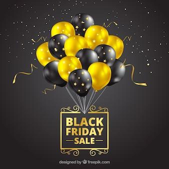 Diseño de black friday con globos realistas
