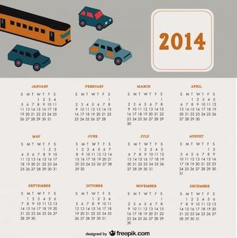 Diseño de calendario 2014 de coches de viaje