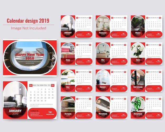 Diseño de calendario de escritorio 2019