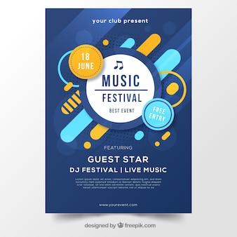 Diseño de cartel abstracto azul para festival de música