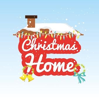 Diseño de casa de navidad diseño colorido vector illustration