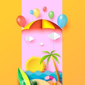 Diseño de concepto de fondo de banner de playa de verano