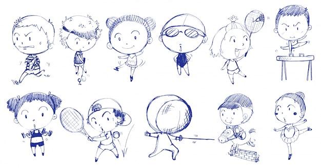 Diseño de doodle azul de personas jugando con los diferentes deportes