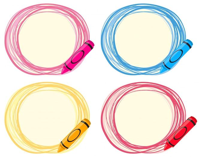 Diseño de etiqueta con lápices de colores