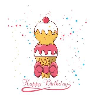 Diseño de feliz cumpleaños con icono de helado