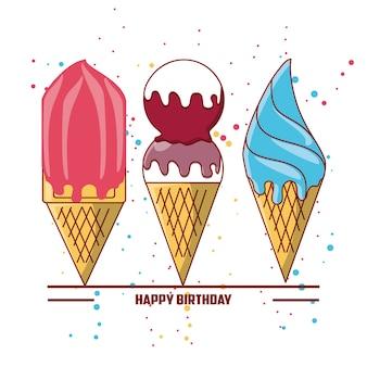 Diseño de feliz cumpleaños con icono de helados