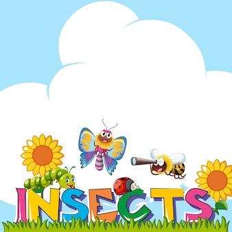 Diseño de fondo con muchos insectos