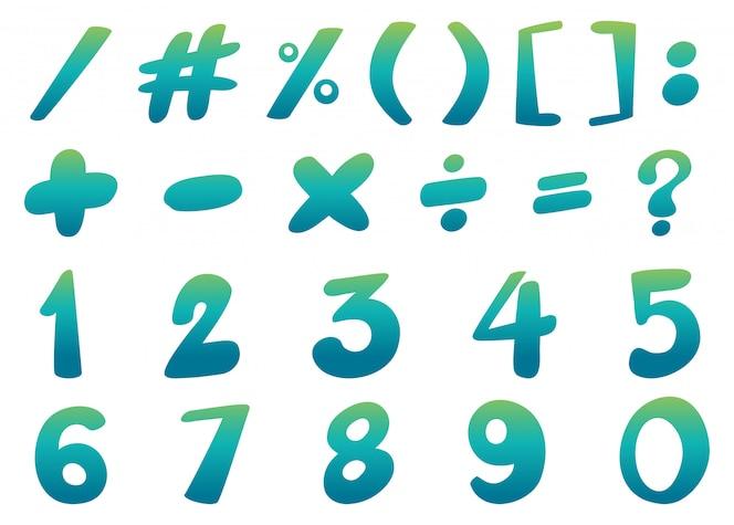 Diseño de fuente para números y signos en azul