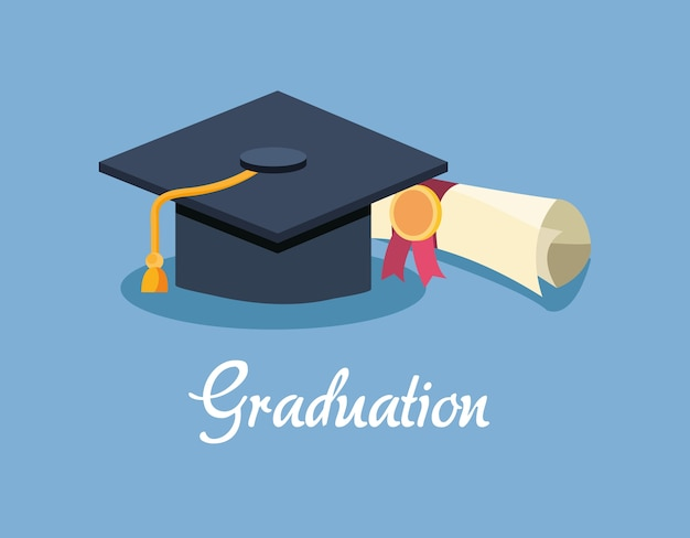 Diseño de graduación con gorra de graduación y diploma
