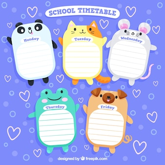 Diseño de horario escolar con animales lindos
