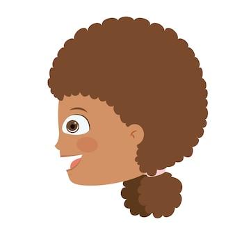 Diseño de icono aislado cabeza de niña