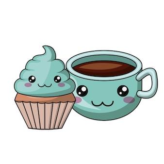 Diseño de icono aislado personaje de cupcake y café