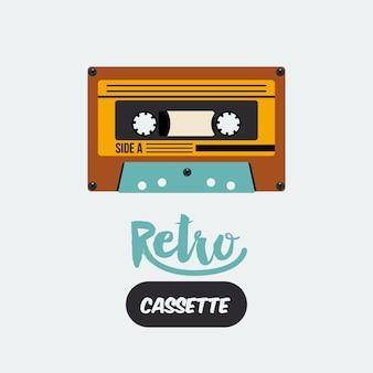 Diseño de icono de cartel retro cassette