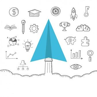 Diseño de iconos de negocios dibujados a mano