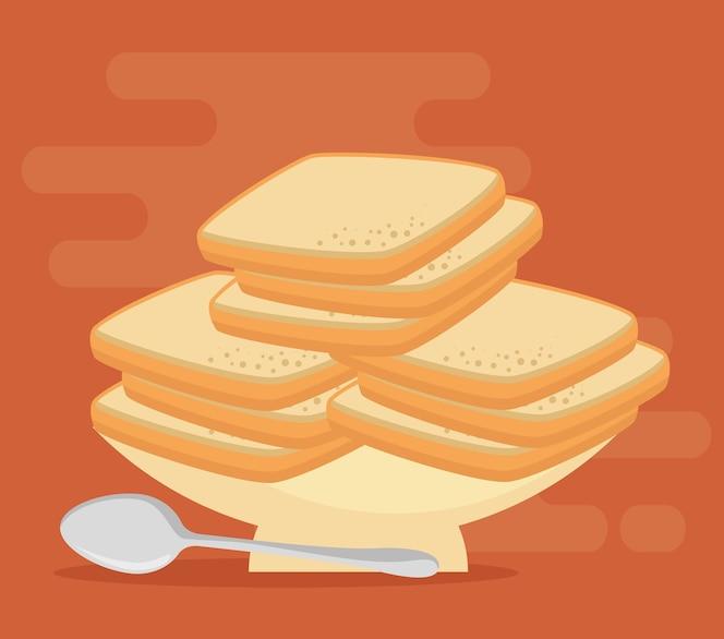 Diseño de ilustración de vector de comida de panadería de pastelería panadería