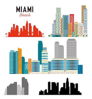 Diseño de ilustración de vector de escena de paisaje urbano de miami beach