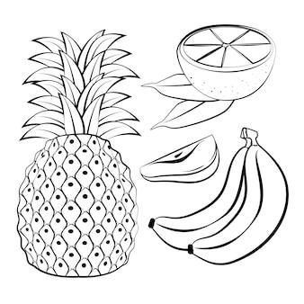 Diseño de ilustración de vector de frutas frescas y saludables