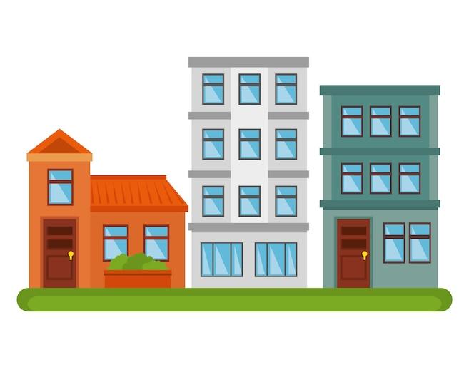 Diseño de ilustración de vector de icono de edificios de paisaje de la ciudad