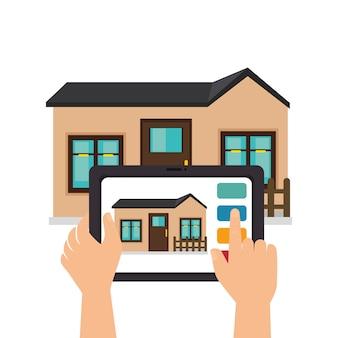 Diseño de ilustración de vector de icono de tecnología casa inteligente