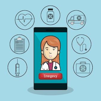 Diseño de ilustración de vector de icono de tecnología de salud móvil