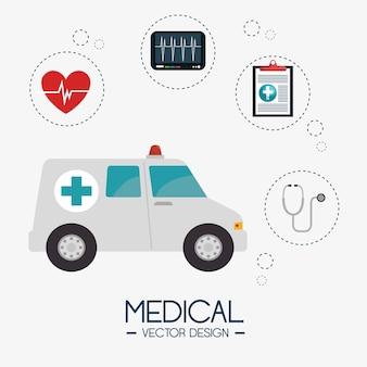 Diseño de ilustración de vector de salud médica iconos plana