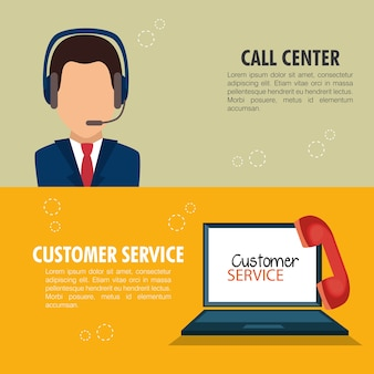 Diseño de ilustración de vector de servicio al cliente de call center