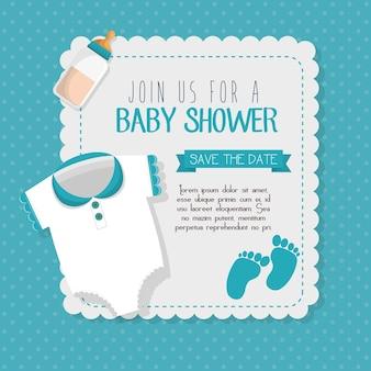 Diseño de ilustración de vector de tarjeta de invitación de ducha de bebé