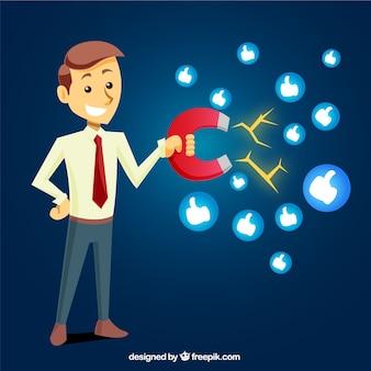 Diseño de influence marketing con hombre feliz sujetando magneto